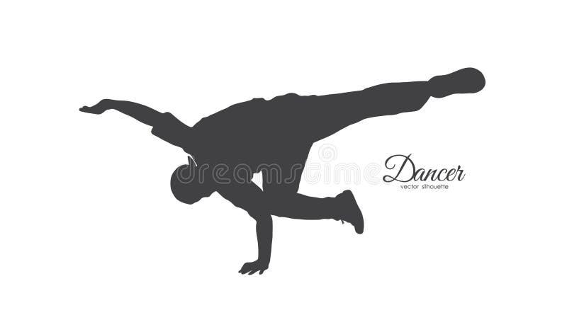 Silhouet van expressieve onderbrekingsdans Jonge mens het dansen van Hip Hop op witte achtergrond vector illustratie