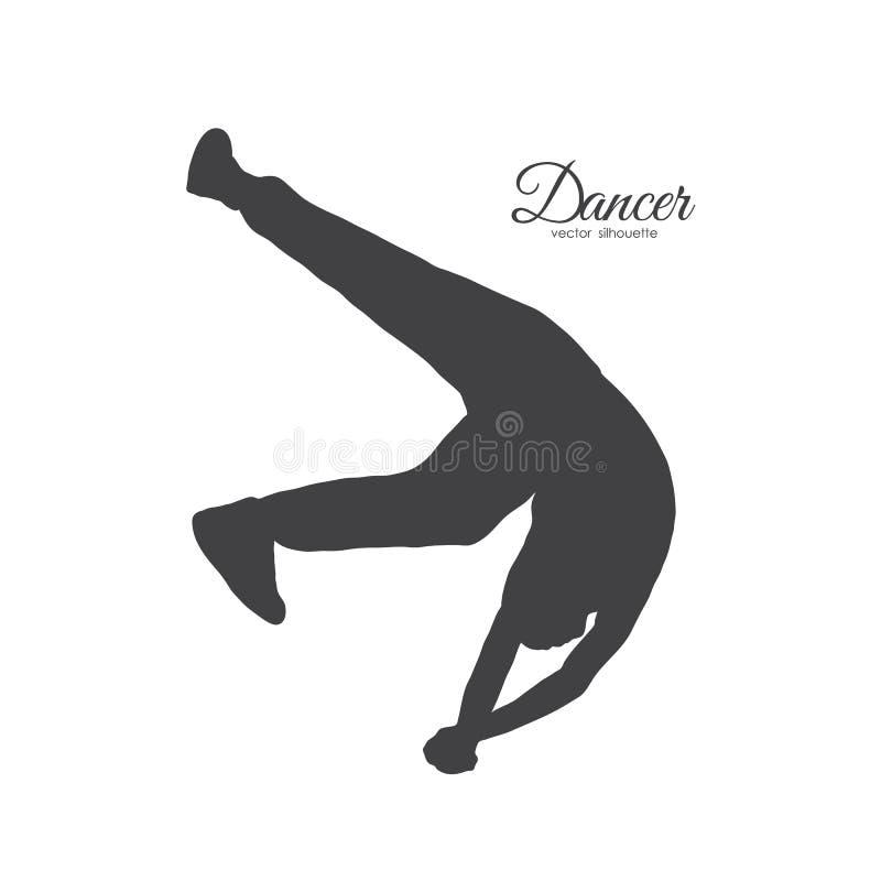 Silhouet van expressieve onderbrekingsdans Mens het dansen van Hip Hop royalty-vrije illustratie