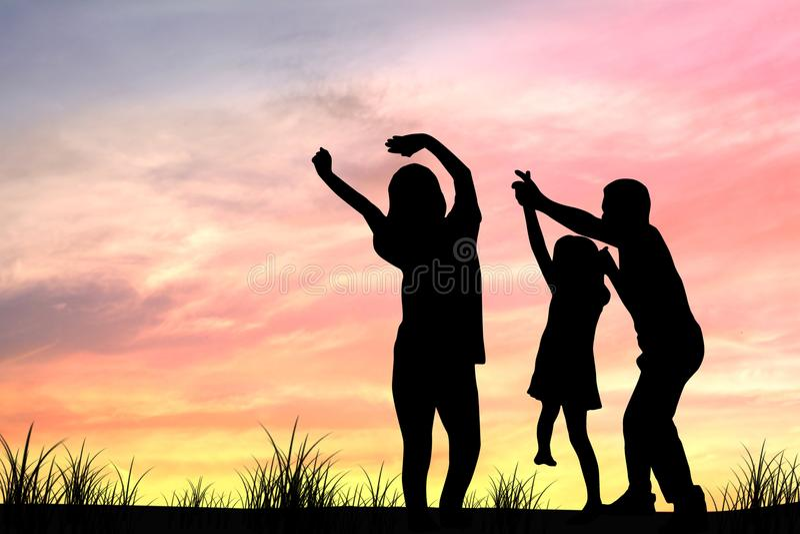 silhouet van familie, mamma en papa, ouders royalty-vrije stock foto