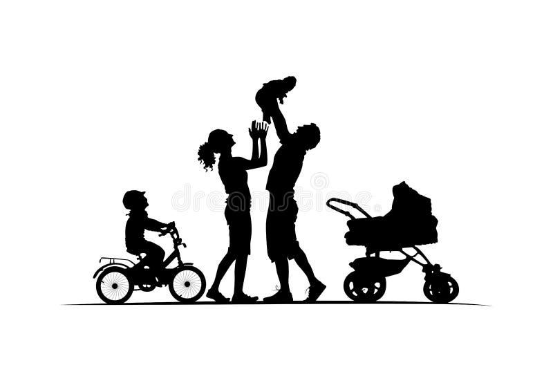 Silhouet van familie met wieg baby-vervoer en jong geitje op fiets royalty-vrije illustratie