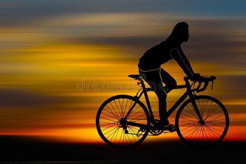 Silhouet van fietser stock illustratie