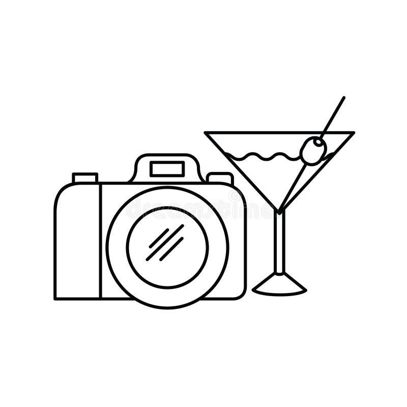 Silhouet van fotografische cocktail en camera vector illustratie
