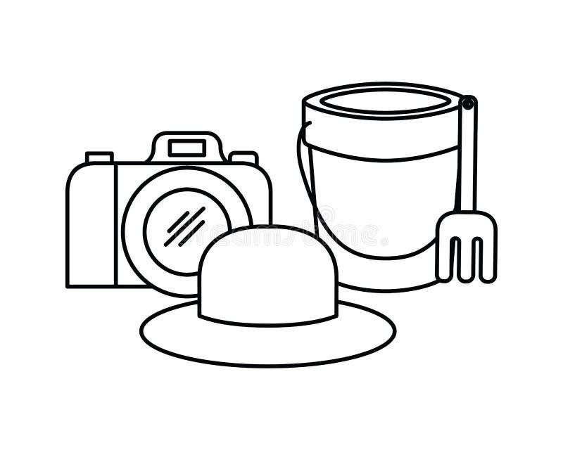Silhouet van fotografische zandemmer en camera royalty-vrije illustratie