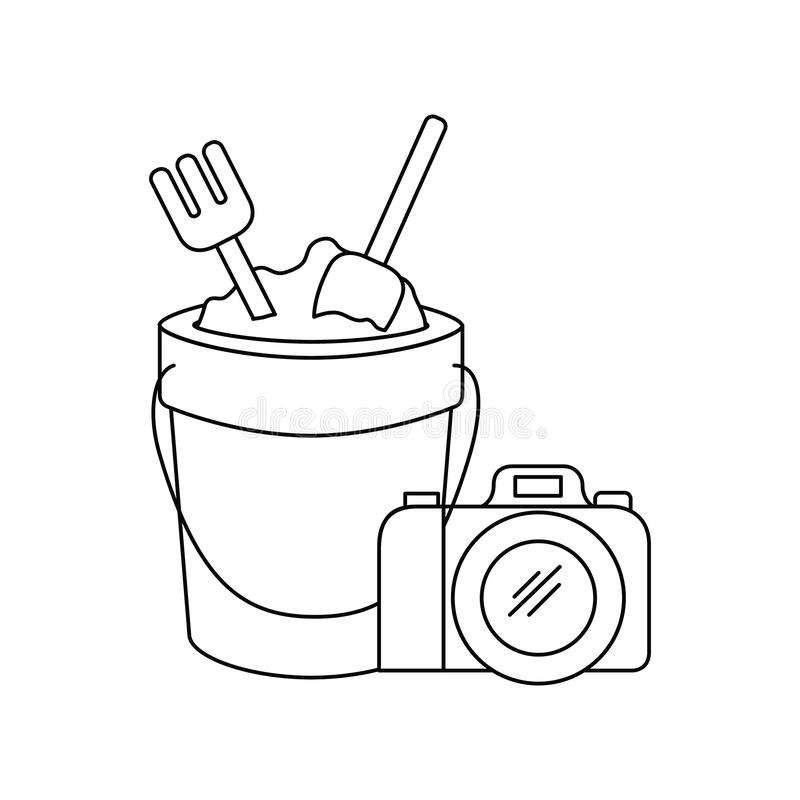 Silhouet van fotografische zandemmer en camera vector illustratie
