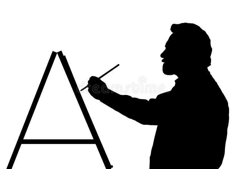 Silhouet van gebaard Hoofdart painter painting vector illustratie