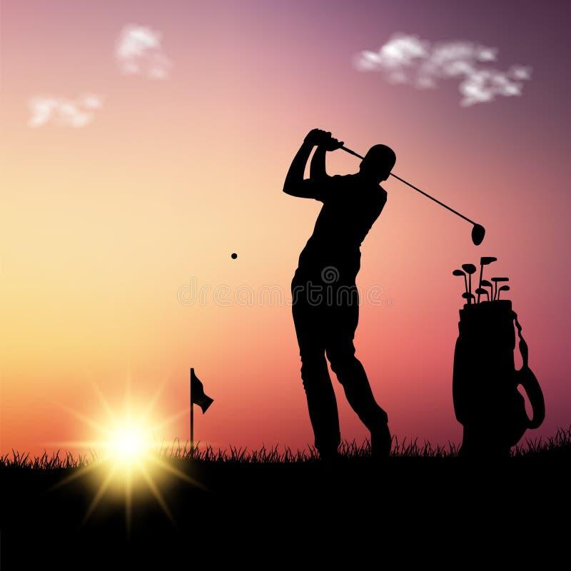 Silhouet van golfspeler met zak bij zonsondergangmalplaatje vector illustratie