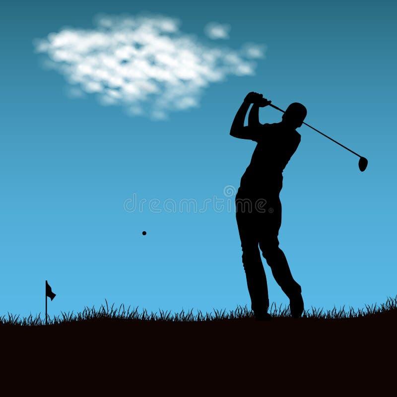 Silhouet van golfspeler na het in brand steken van bal vector illustratie