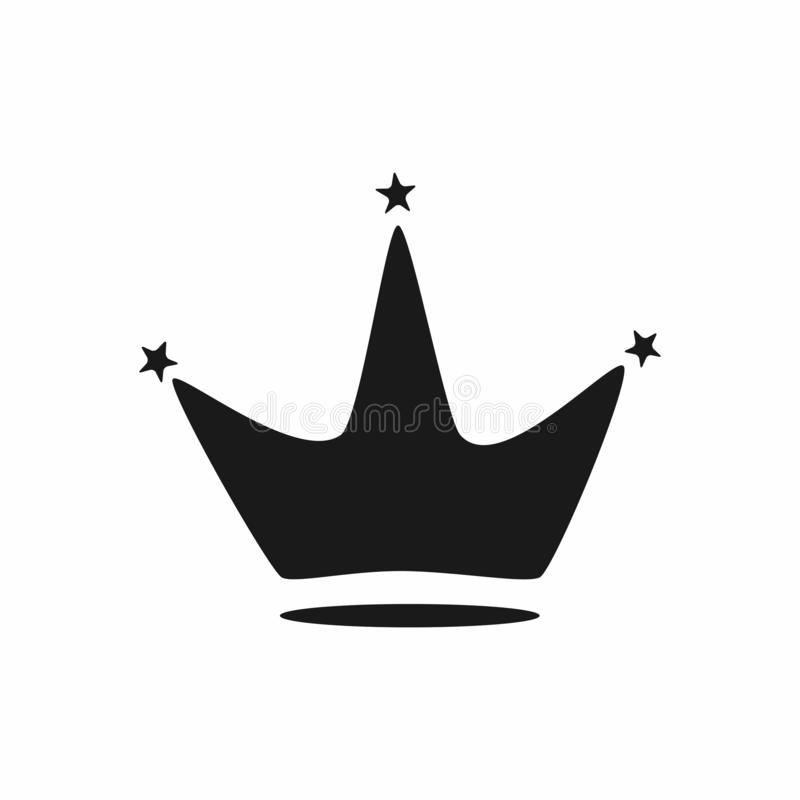 Silhouet van grappige kroon met sterren Geïsoleerd pictogram, symbool, embleem stock illustratie