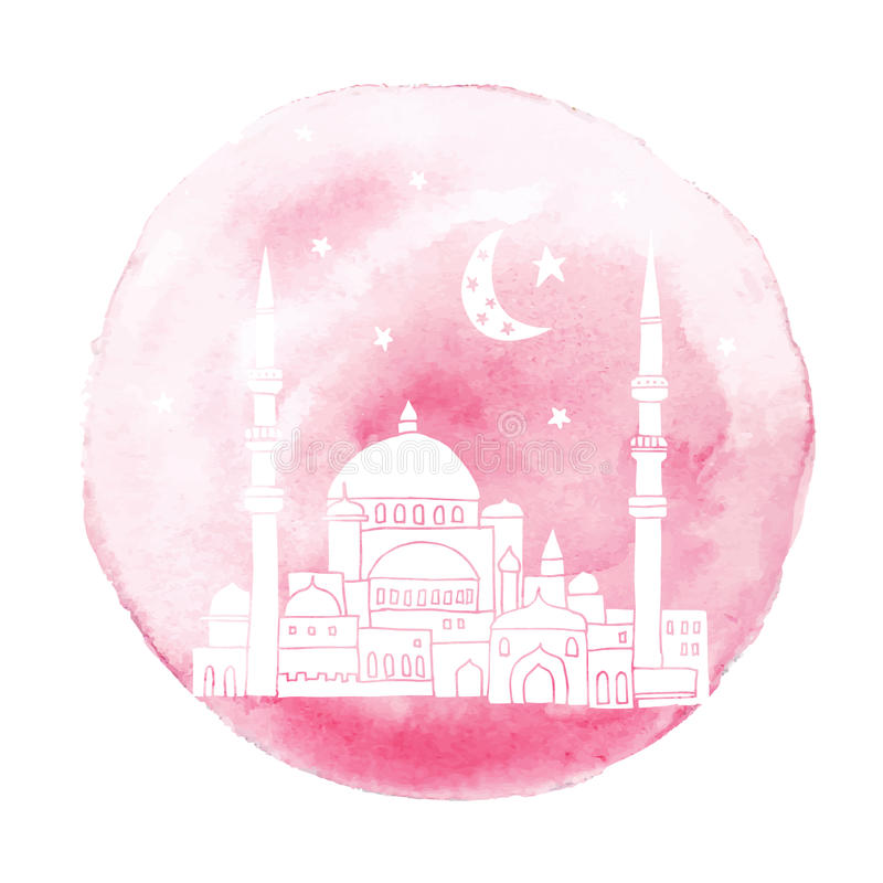 Silhouet van hand getrokken moskee met maan, sterren en waterverfachtergrond, Ramadan Kareem-groetkaart,