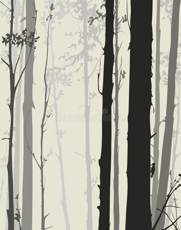 Silhouet van het bos vector illustratie