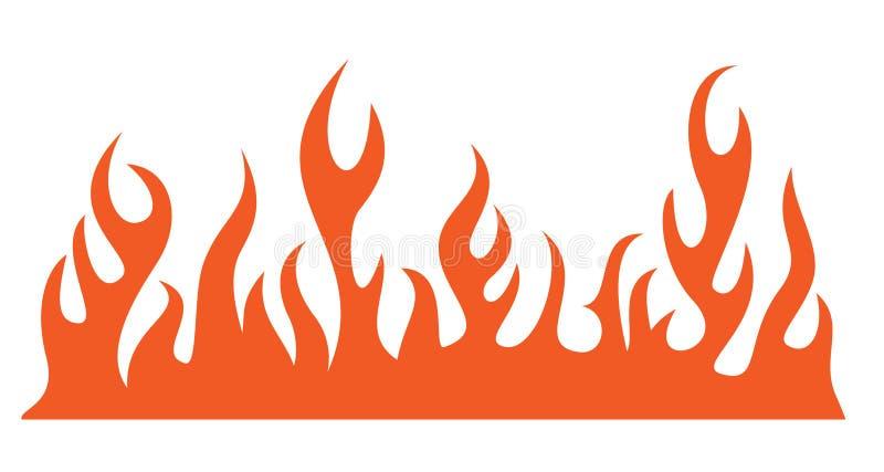 Silhouet van het branden van brandvlam stock illustratie