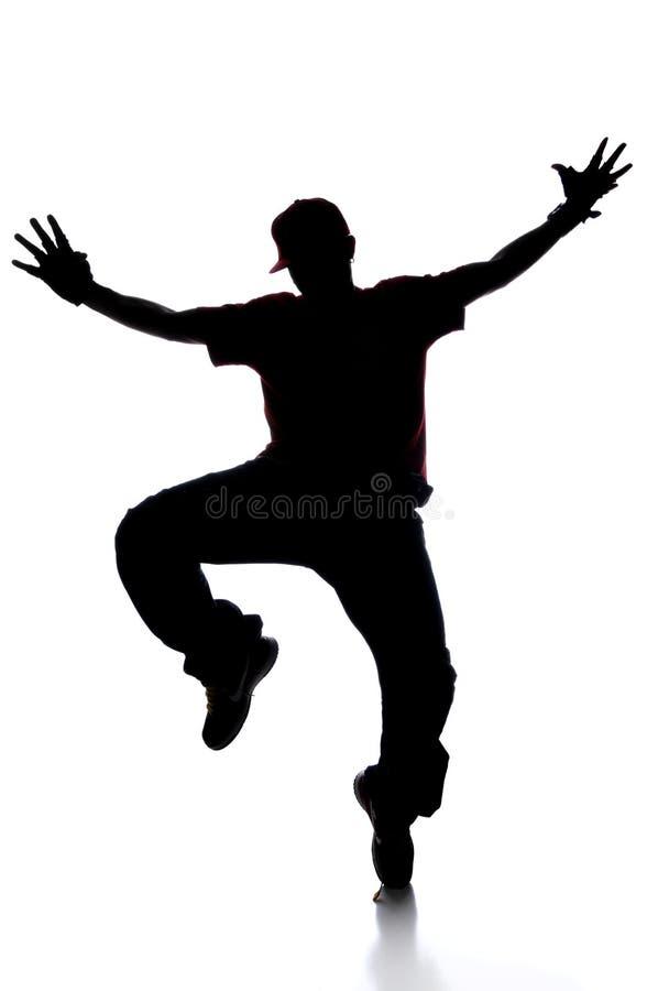 Silhouet van het Dansen van de Jonge Mens royalty-vrije stock afbeelding