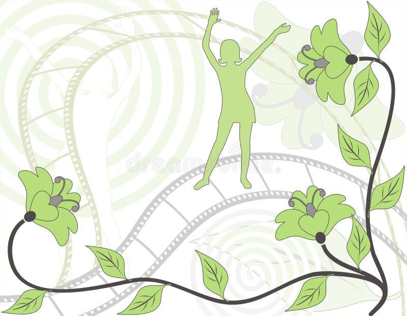 Silhouet van het dansende meisje op retro een achtergrond, vector stock illustratie