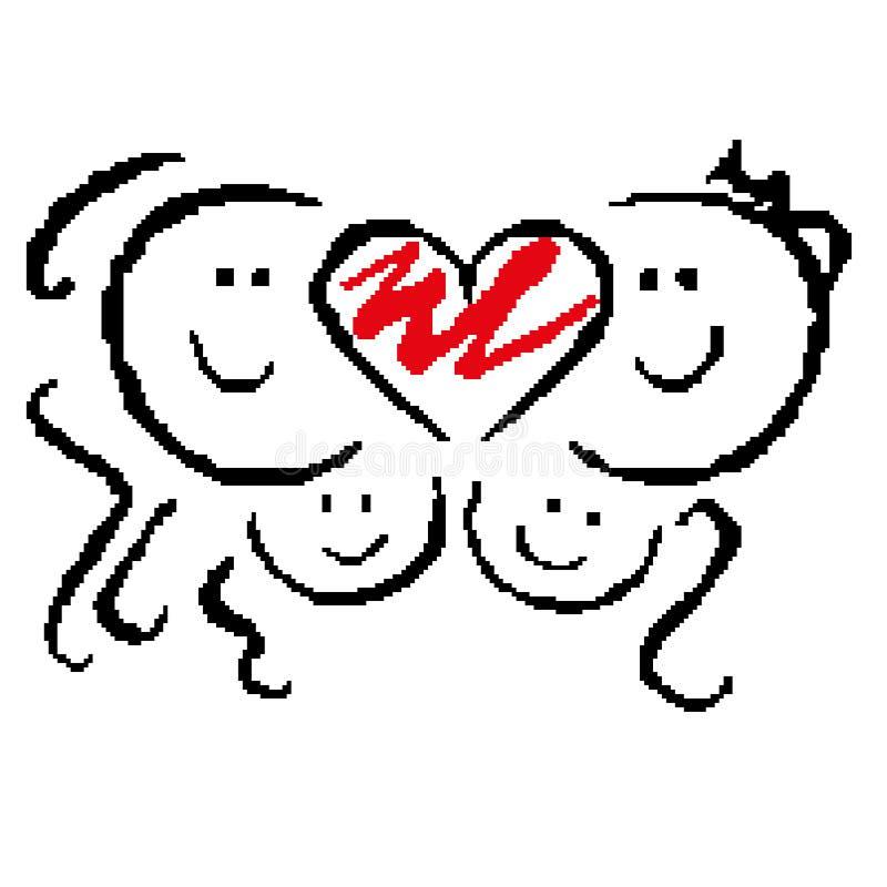 Silhouet van het glimlachen gezichten met een hart De dag van de valentijnskaart `s Getrokken door vierkanten, pixel Vector illus stock illustratie
