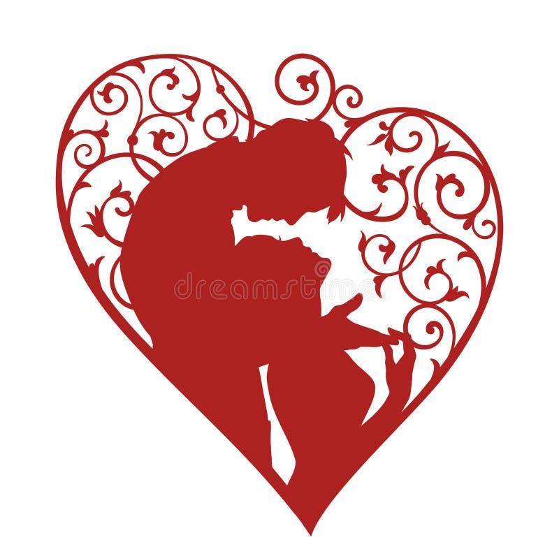 Silhouet van het houden van van paar binnen het hart met wervelingen vector illustratie
