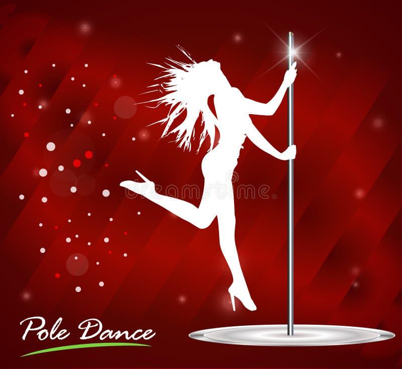 Silhouet van het jonge mooie vrouw dansen een striptease, pooldans stock illustratie