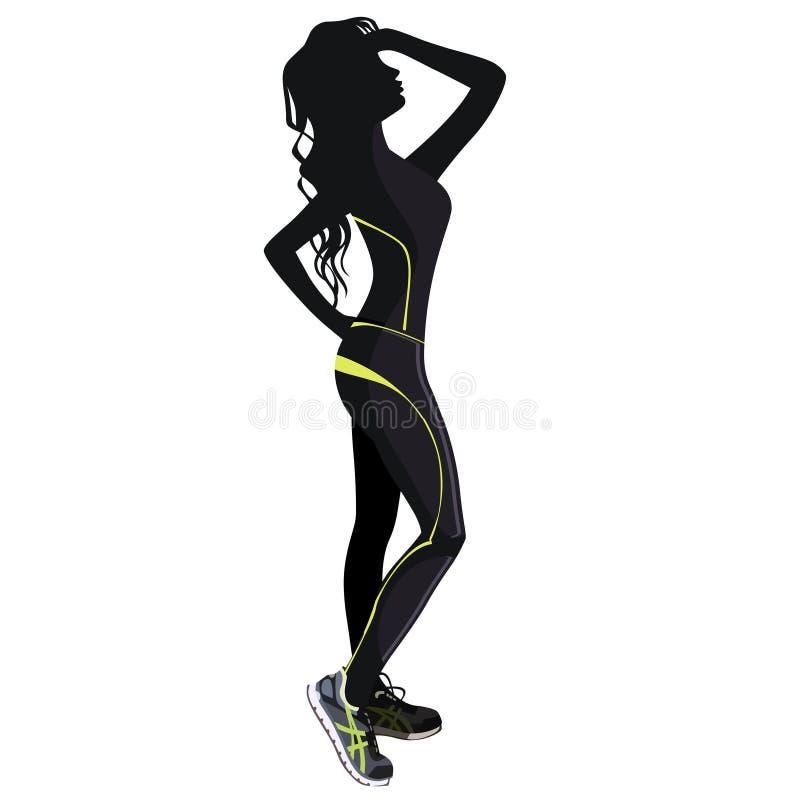 Silhouet van het meisje in kleren voor geschiktheid royalty-vrije stock afbeelding