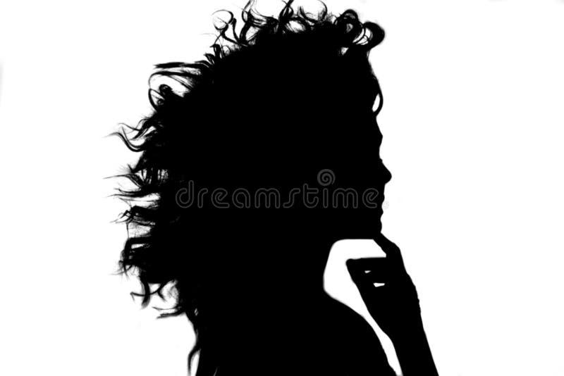 Silhouet van het meisje met vliegend krullend kapsel royalty-vrije stock fotografie