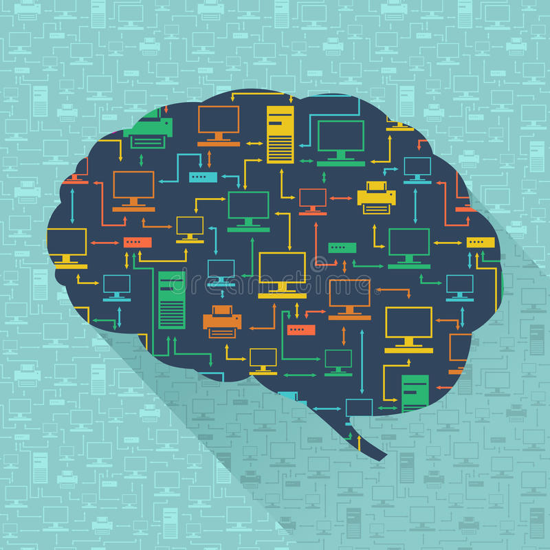 Silhouet van het menselijke netwerk van de hersenencomputer binnen vector illustratie
