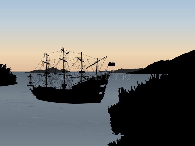 Silhouet van het piraatschip vector illustratie