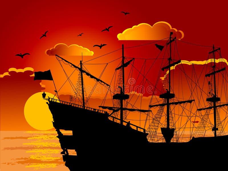 Silhouet van het piraatschip stock illustratie