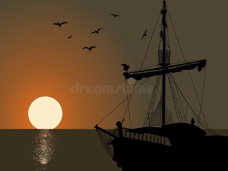 Silhouet van het piraatschip royalty-vrije illustratie