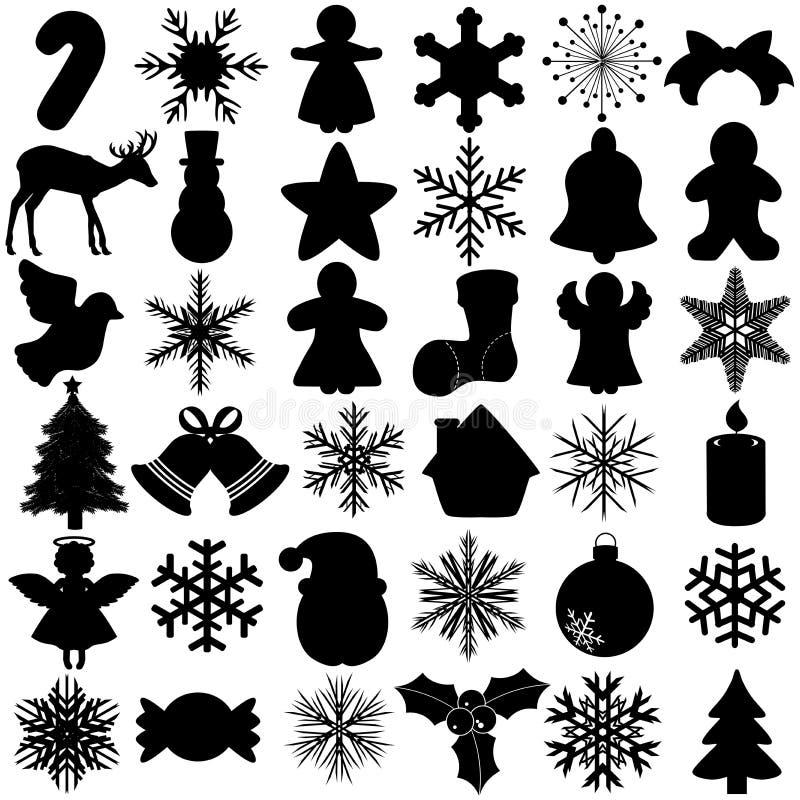 Silhouet van het symbool van het Festival van Kerstmis van de Sneeuwvlok royalty-vrije illustratie
