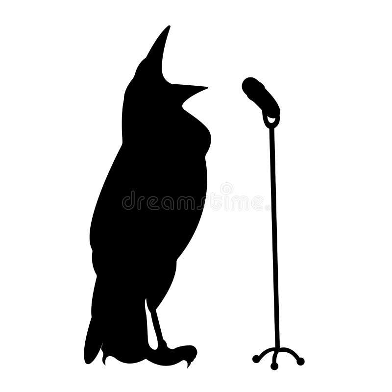 Silhouet van het zingen vogel stock fotografie