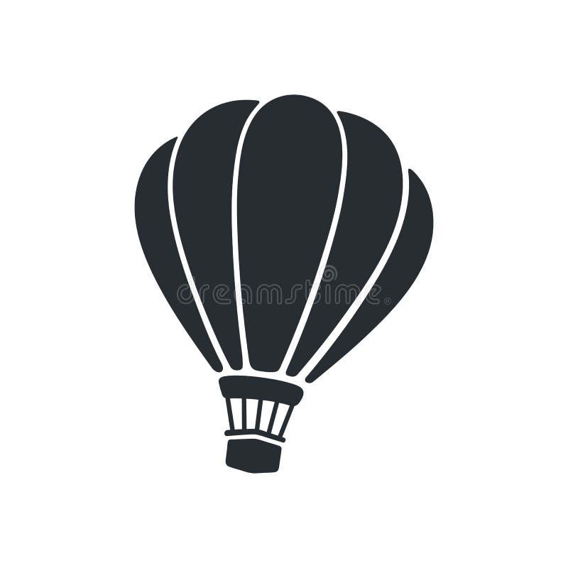 Silhouet van hete luchtballon royalty-vrije illustratie