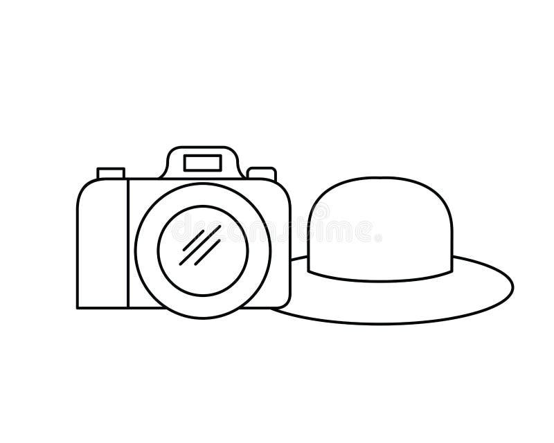 Silhouet van hoed met lint en fotografische camera royalty-vrije illustratie