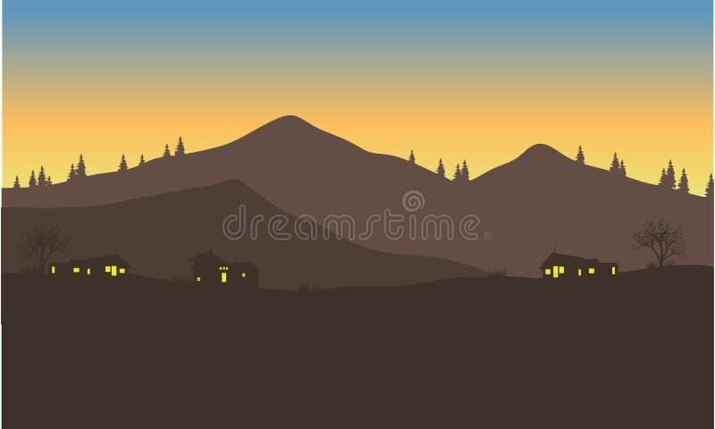 Silhouet van huis onder de berg vector illustratie