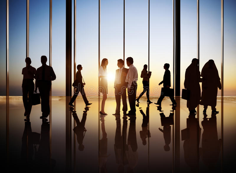 Silhouet van Internationale Bedrijfsmensen royalty-vrije stock afbeelding