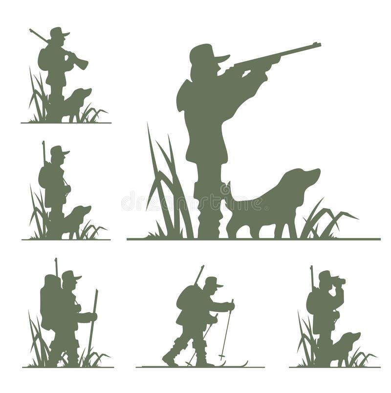 Silhouet van jager vector illustratie