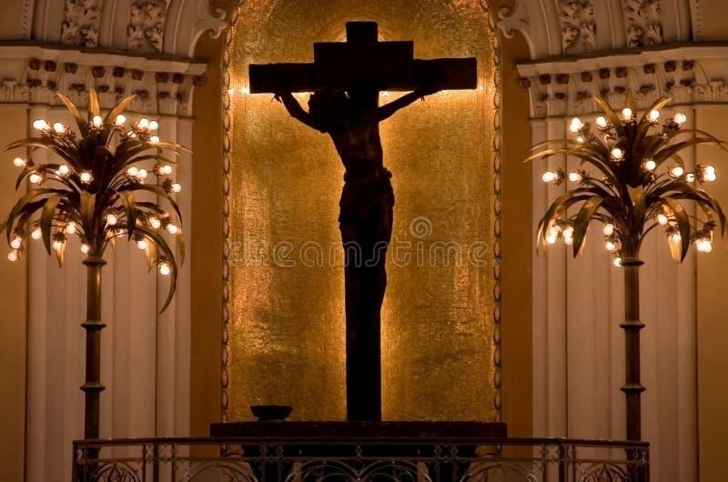 Silhouet van Jesus op Kruis royalty-vrije stock foto
