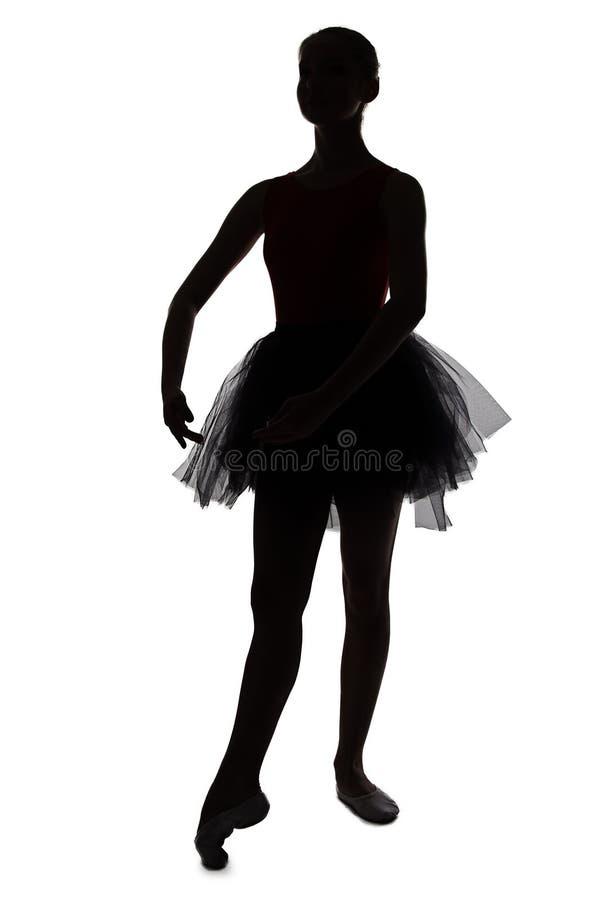 Silhouet van jonge dansende ballerina royalty-vrije stock afbeelding