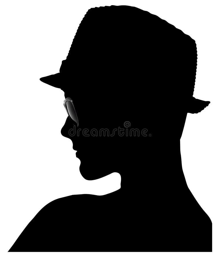 Silhouet van jonge geitjesprofiel Hoed sunglass stock afbeeldingen