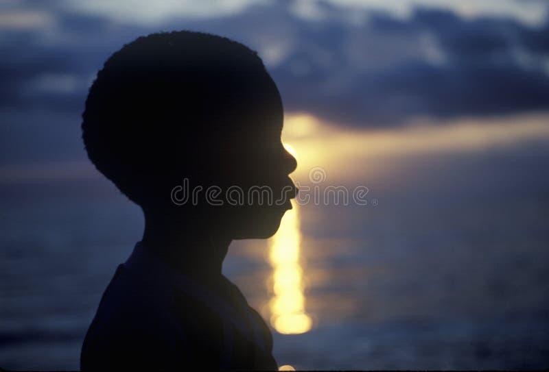 Silhouet van jonge Jamaicaan royalty-vrije stock foto