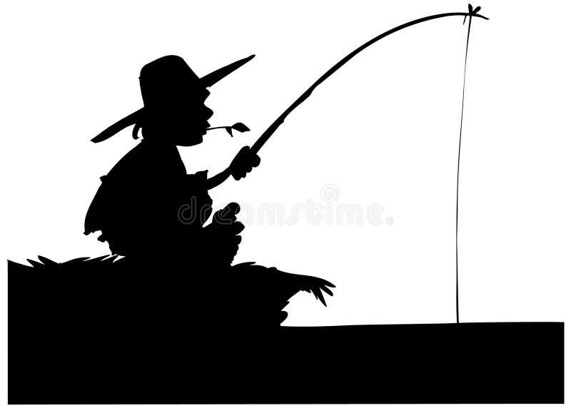 Silhouet van jongen visserij vector illustratie