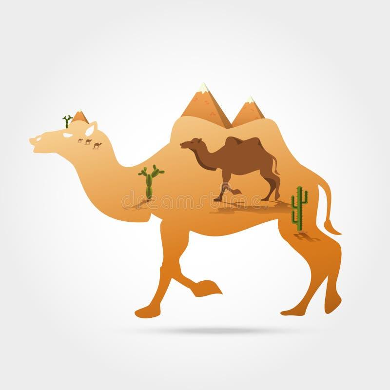 Silhouet van kameel royalty-vrije illustratie