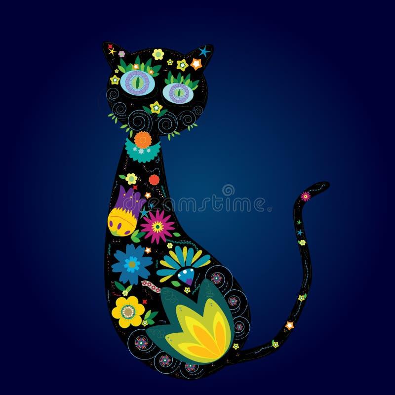 Silhouet van kat royalty-vrije illustratie