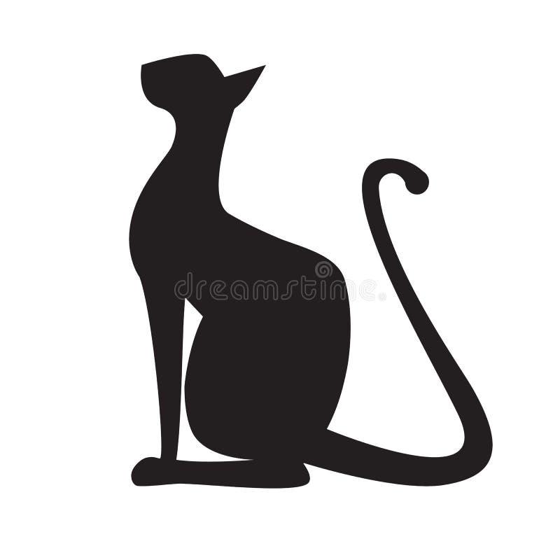Silhouet van kat stock illustratie