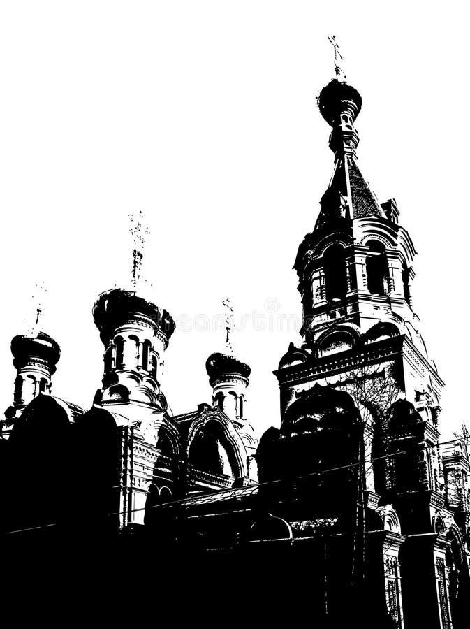 Silhouet van kerk. Vector vector illustratie
