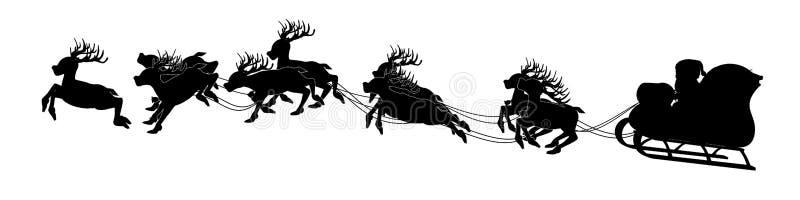 Silhouet van Kerstman op ar stock illustratie