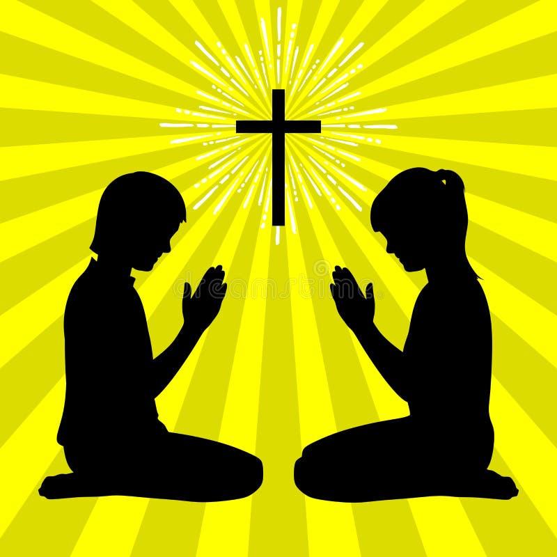 Silhouet van kinderen aan God met gebed en verering wordt gedraaid die vector illustratie