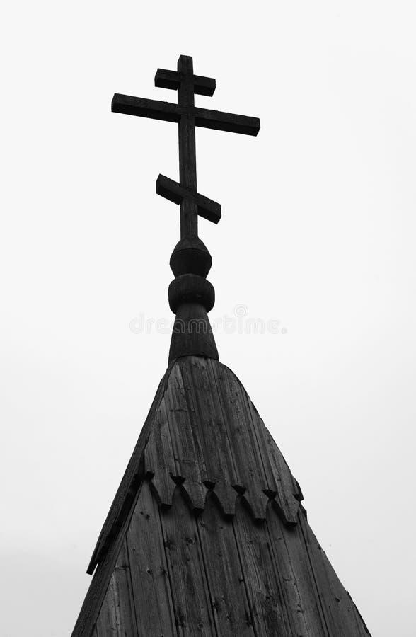 Silhouet van koepel met kruis van orthodoxe kerk stock foto's