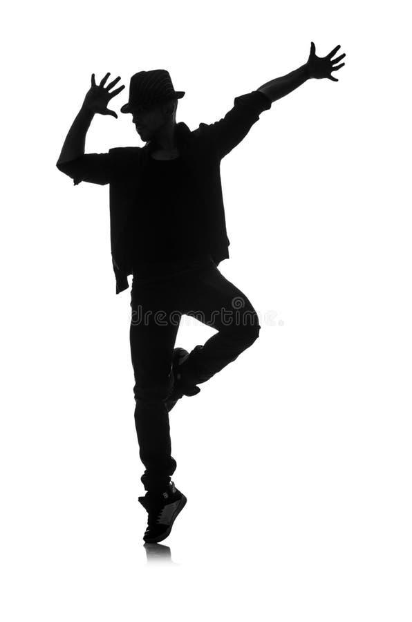 Silhouet van mannelijke danser stock afbeeldingen