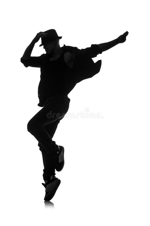 Silhouet van mannelijke danser royalty-vrije stock foto