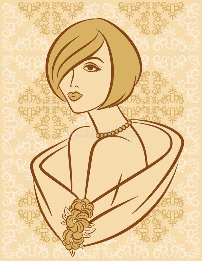 Silhouet van meisje stock illustratie