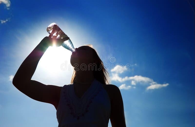 Silhouet van meisje stock afbeeldingen