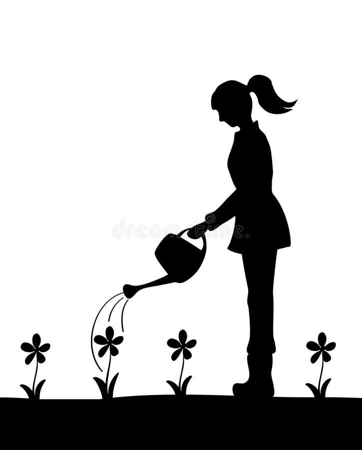 Silhouet van meisje het water geven bloemen stock illustratie
